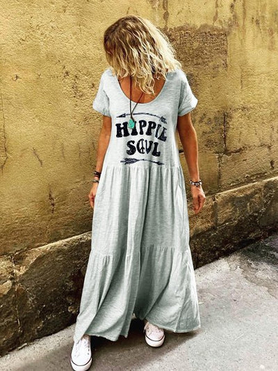 Letter Short Sleeve Crew Neck Boho Dresses