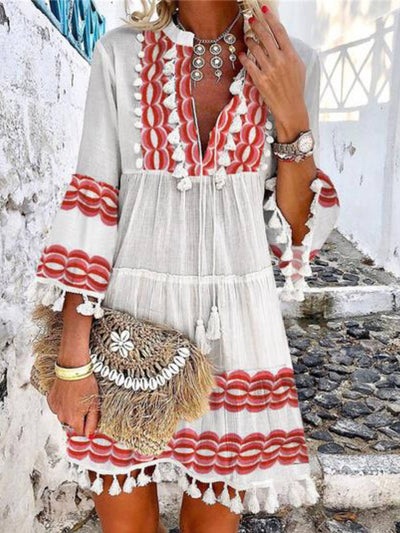 Women Holiday Print  3/4 Sleeve V-Neck Beach Dress
