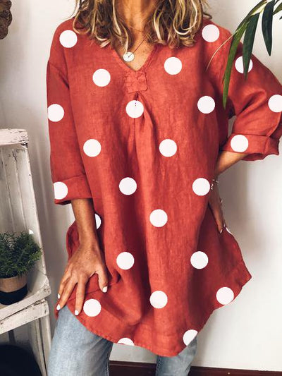 Women Casual Polka Dots 3/4 Sleeve V Neck Plus Size Cotton Tunics