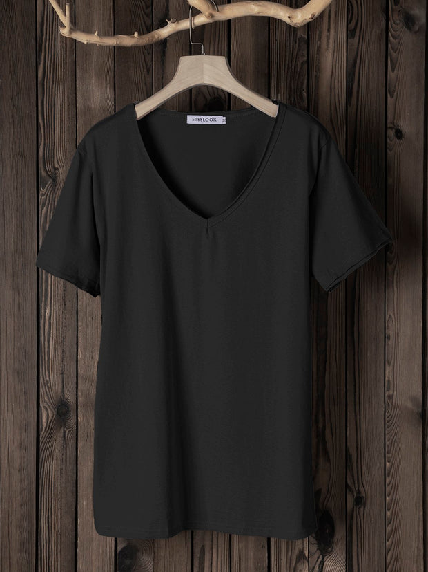 Women Daily Solid Short Sleeve V Neck  Summer Cotton Paneled Tshirts