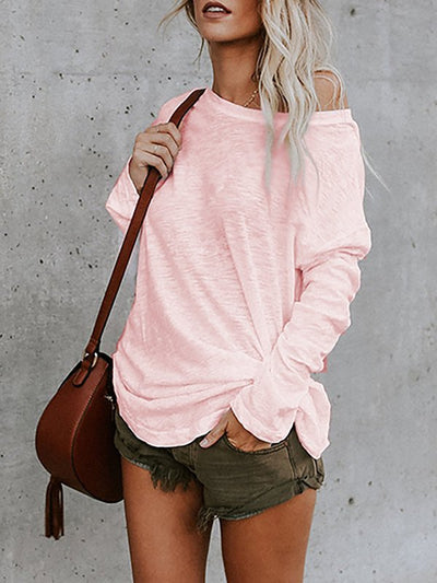 Women Daily Solid Long Sleeve Crew Neck Plus Size Cotton Tunics