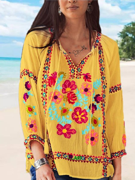 Casual Embroidered V Neck 3/4 Sleeve Shirts