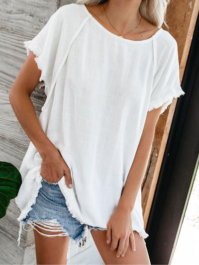 Women Casual Plain Batwing Short Sleeve Crew Neck Tops