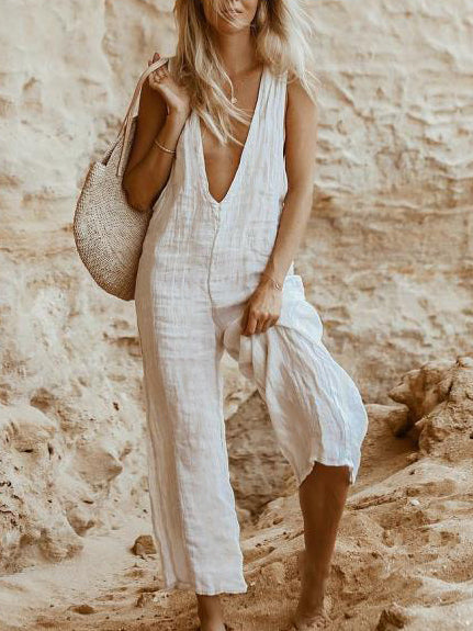 Plus Size Casual V Neck Sleeveless Jumpsuits