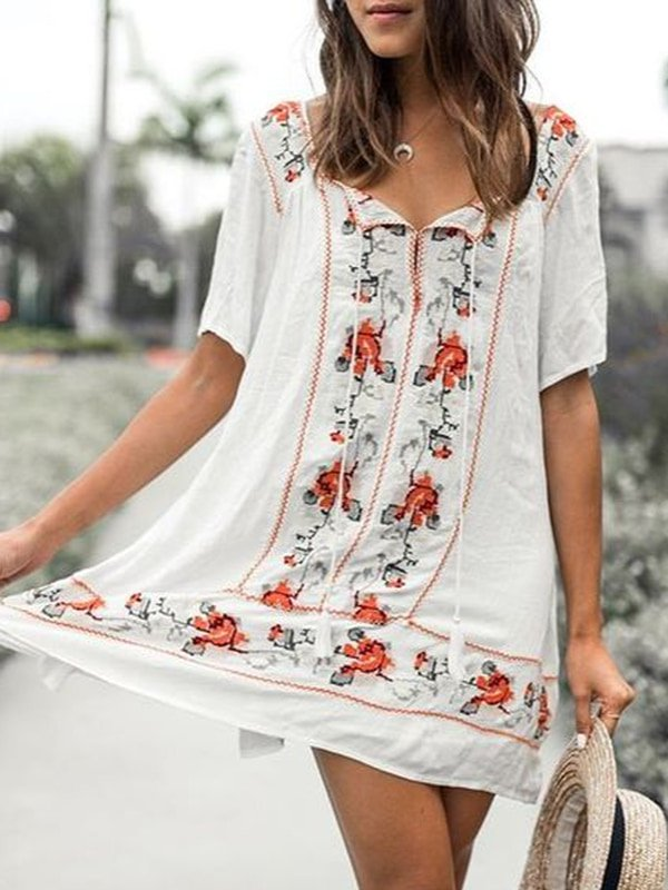 Printed Short Sleeve V Neck Dresses