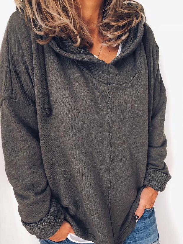Women Daily Solid Long Sleeve Crew Neck Spring Cotton-Blend Hoodies&Sweatshirts