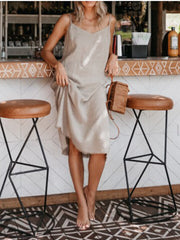 Linen Solid Casual Dresses