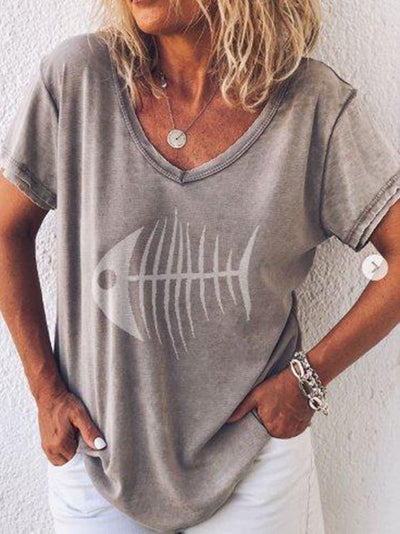 Women Casual  Print V Neck Loose Cotton-Blend Tops