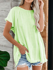 Women Casual Solid Loose Batwing Short Sleeve Tops