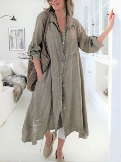 Women Casual Solid Long Sleeve Shirt Collar Loose Linen Shirt Dress