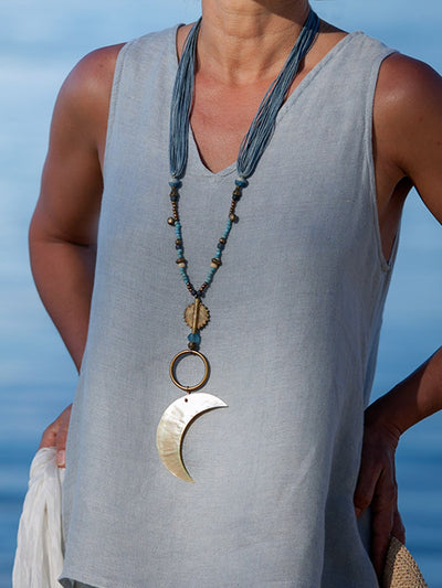 Women Daily Handmade Moon Pendants combined with Glass Beads and Waxed Cotton Treads Necklace