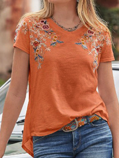 Women Casual Embroidery V-Neck Plain Cotton-Blend Shirts
