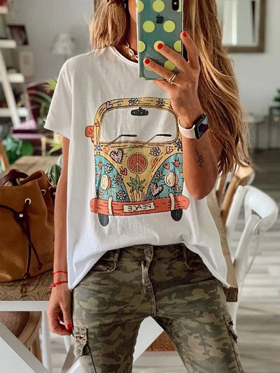 Women Lovely Print Short Sleeve Round Neck Cotton Tops