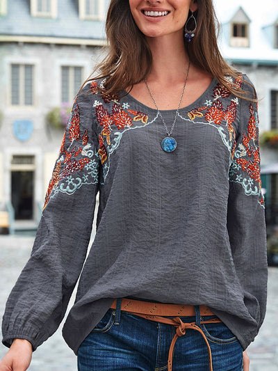 Women Casual Embroidery Plain Crew Neck Long Sleeve Tops