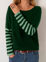 Women Holiday Striped Long Sleeve Crew Neck Plus Size Spring Cotton-Blend Hoodies&Sweatshirts