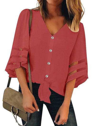 Women Daytime Solid Bell Sleeve V Neck Plus Size Cotton Paneled Blouses