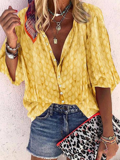 Women Bohemian Casual Printed 3/4 Sleeve Button Shirt