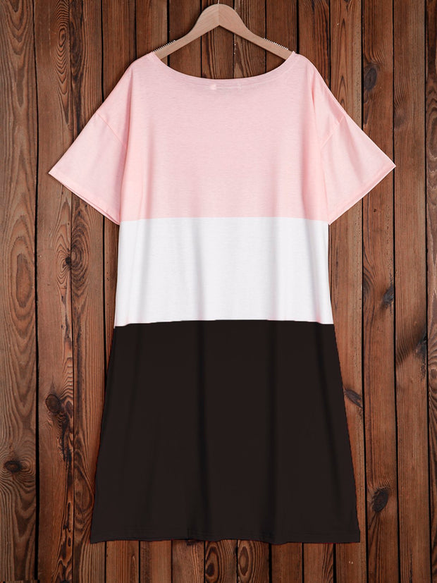 Women Casual Color-Block Short Sleeve Round Neck Wide Shoulders Cotton-Blend Dresses