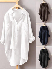 Women Daily Solid Long Sleeve Shirt Collar Cotton Paneled Buttoned Blouses