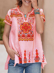 Women Boho Embroidered Short Sleeve V-Neck Shirt