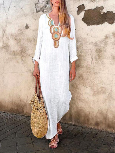 Women Daytime Tribal Long Sleeve V Neck Cotton-Blend Printed Dresses