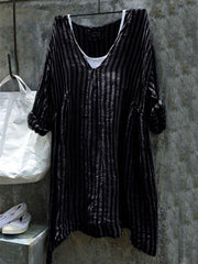 Casual V-Neck 3/4 Sleeve Striped Plus Size Bat Sleeve