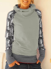 Women Daily Long Sleeve Hoodie Plus Size Spring Cotton-Blend Printed Hoodies&Sweatshirts