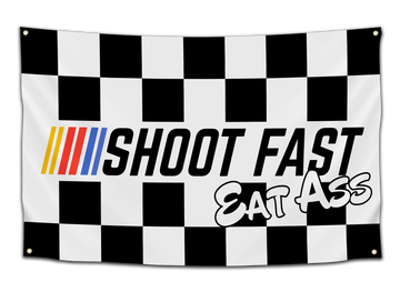 Shoot Fast, Eat Ass Flag - CollegeWares