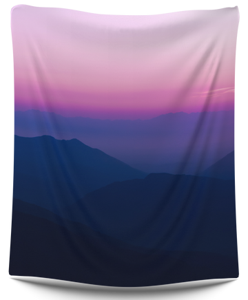 Blue Pink Mountains Tapestry - CollegeWares