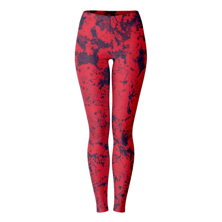 Navy Red Abstract Leggings