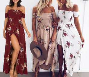 Bohemian off-the-shoulder Summer Dress - 3 Styles - Shop TeamSizz