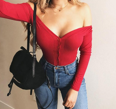 Off-Shoulder Button Down Bodysuit - Shop TeamSizz