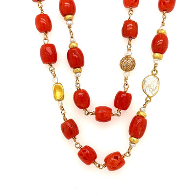 ELLEN HOFFMAN DESIGNS 18-KARAT GOLD VINTAGE CORAL, SLICED AND PAVE DIAMOND, AKOYA KESHI PEARL NECKLACE