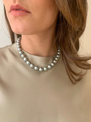 20k Gold Silver-Blue South Sea Pearl, Diamond Necklace
