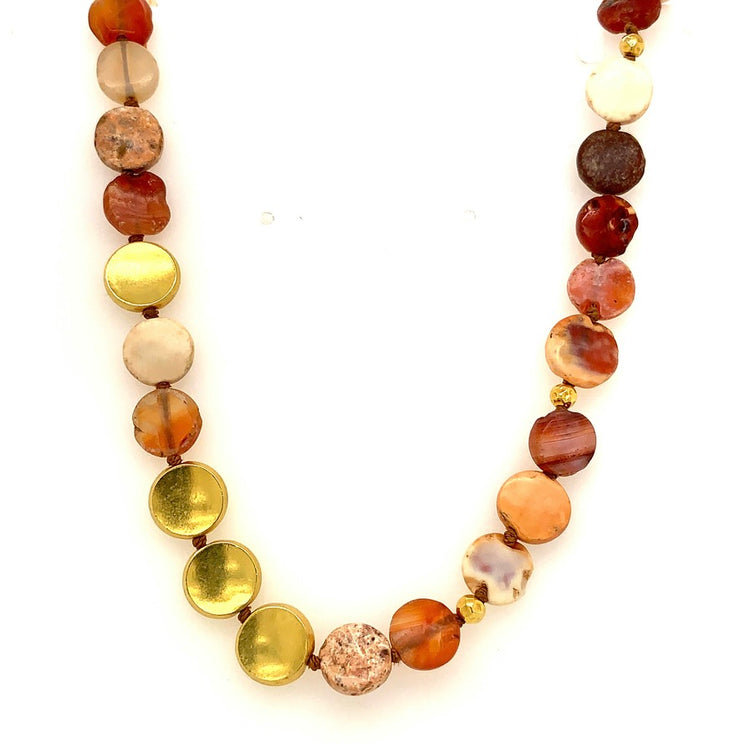 ELLEN HOFFMAN DESIGNS 20-KARAT GOLD ANCIENT BACTRIAN CARNELIAN NECKLACE