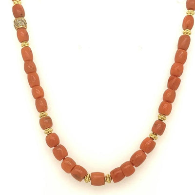ELLEN HOFFMAN DESIGNS 18K GOLD VINTAGE CORAL, DIAMOND NECKLACE