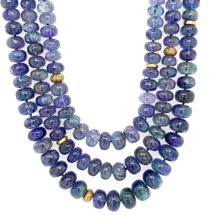 ELLEN HOFFMAN DESIGNS 20K GOLD TRIPLE STRAND TANZANITE, DIAMOND NECKLACE