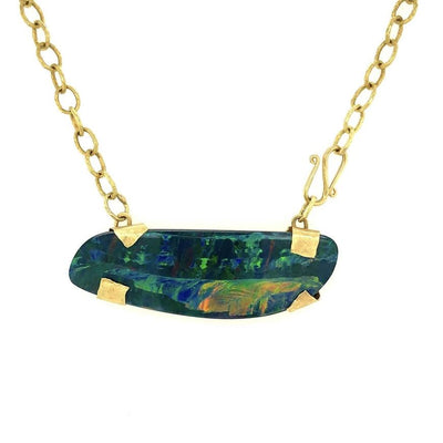 ELLEN HOFFMAN DESIGNS 18K GOLD OPAL DOUBLET, CHAIN PENDANT NECKLACE