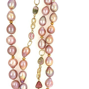 ELLEN HOFFMAN DESIGNS 18-KARAT GOLD PINK TO PURPLE BAROQUE MING TEARDROP PEARLS WITH WATERMELON TOURMALINE INFINITY NECKLACE
