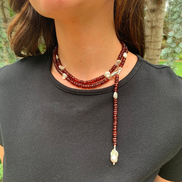 ELLEN HOFFMAN DESIGNS STERLING SILVER GARNET AND KESHI PEARL INFINITY LINK NECKLACE WITH BAROQUE PEARL DROP