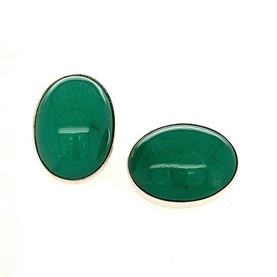 ELLEN HOFFMAN DESIGNS CHRYSOPRASE STERLING SILVER CUFF LINKS