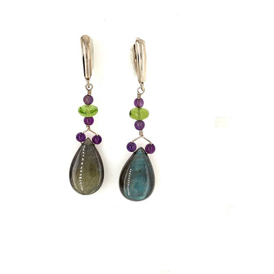 ELLEN HOFFMAN DESIGNS STERLING SILVER LABRADORITE, PERIDOT, AMETHYST EARRINGS