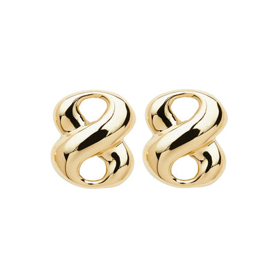 ELLEN HOFFMAN DESIGNS 18K GOLD WIDE INFINITY POST EARRINGS