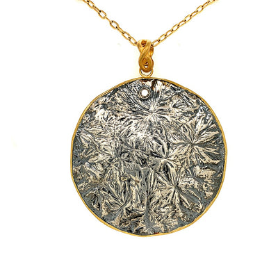 ELLEN HOFFMAN DESIGNS RARE 16TH CENTURY SILVER THAI FLOWER MONEY COIN PENDANT NECKLACE