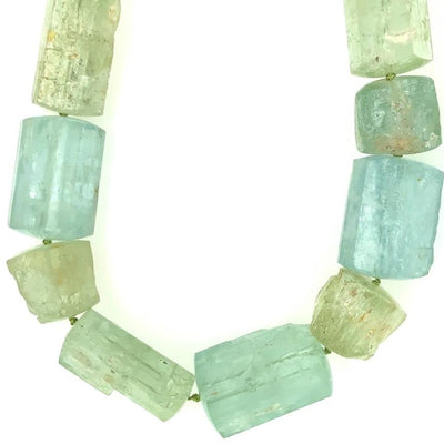 ELLEN HOFFMAN DESIGNS 18K GOLD LARGE AQUAMARINE CRYSTAL NECKLACE