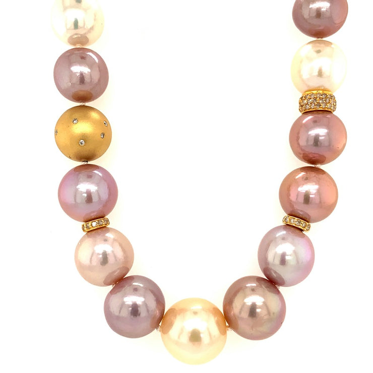 ELLEN HOFFMAN DESIGNS 18-KARAT GOLD MING PEARL, PAVE DIAMOND NECKLACE