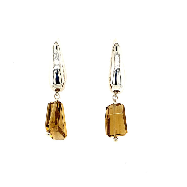 ELLEN HOFFMAN DESIGNS STERLING SILVER TEARDROP POST EARRINGS WITH MULTI-COLORED ROUGH CUT QUARTZ