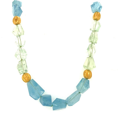 ELLEN HOFFMAN DESIGNS 18K GOLD AQUAMARINE AND BERYL NECKLACE