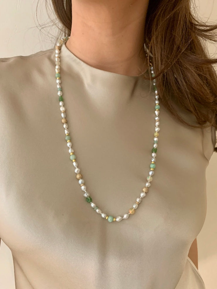 18k Gold Tahitian Pearl, Jade, Opal, Garnet, Diamond Necklace