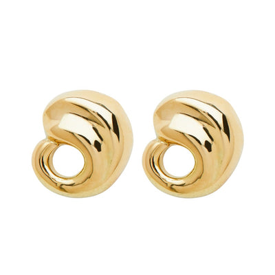 ELLEN HOFFMAN DESIGNS 18K GOLD PAISLEY POST EARRINGS